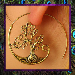 Unusual Tree Hoop Earrings    #JWL-276